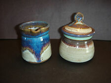 RED DUCK POTTERY CREAMER & SUGAR FROM SEDONA, AZ - HANDCRAFTED BLUE/GRAY