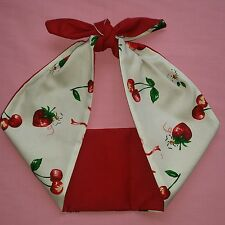 cherry strawberry red rockabilly,pin up, tattoo, bandana headband,hairband