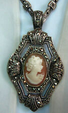 STERLING SILVER 925 MARCASITE CARVED SHELL CAMEO PENDANT NECKLACE UNWORN FAB