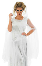 LADIES LONG WHITE HOODED ZOMBIE GHOST COSTUME FANCY DRESS HALLOWEEN 24-26-28-30
