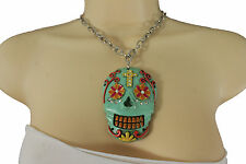 New Women Silver Metal Chain Fashion Jewelry Long Necklace Day Of The Dead Skull