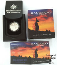 2012 Kangaroo at Sunset One Dollar Silver Proof Australian Coin