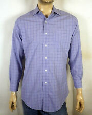euc Brooks Brothers blue plaid Button Down Dress Shirt slim fit M 15 - 32