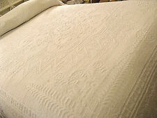 Candlewick Chenille Fringed Bedspread Spirit of America Vtg White 92x120 Full-Qn