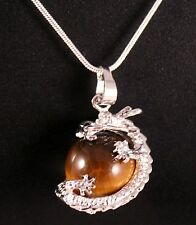 Silver Tigers Eye Dragon Pendant Chain/Necklace w/Free Jewelry Box and Shipping