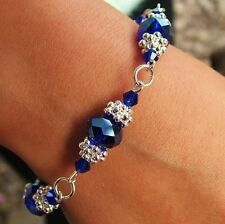 N / FLOWER BRACELET KIT COBALT CRYSTAL RONDELLE BEADS / SILVER JEWELLERY MAKING