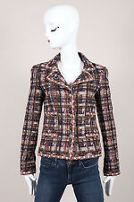 Chanel 05A Multicolor Checkered Wool Blend Tweed LS Buttoned Jacket SZ 34