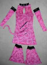 PMG Halloween Costume 3pc Set Pink fuzzy Sexy Punk Rock Cat outfit Teen Girls L