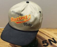 """I'D RATHER BE RACING"" SNAPBACK HAT BEIGE AND BLACK IN VERY GOOD CONDITION"