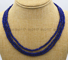 AAA NATURAL 3 Rows 2X4mm FACETED DARK Blue Sapphire BEADS NECKLACE