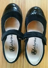 Naturino Black Patent/Suede Girls/Toddlers Dress Shoes Size Eur 27/US 10