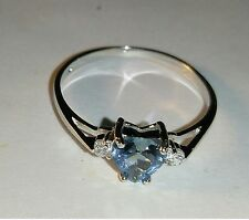 Heart Design Ring Size 7 Womens Blue Topaz CZ Clear Accents 925 Sterling Silver