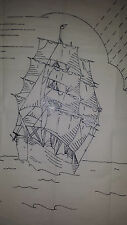 Vintage Robin Sailing Ship Embroidery Transfer Pattern  7037