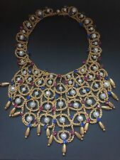 Vintage french faux baroque pearl red blue rhinestone gold twisted bib Necklace