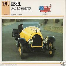 FICHE AUTOMOBILE GLACEE US USA CAR KISSEL GOLD BUG SPEEDSTER 1919