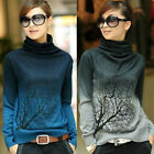 Women Gradient Color Pullover Turtleneck Cozy Jumper Tops Blouse Printed Sweater