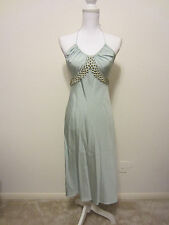 VINTAGE CHLOE EMPIRE WAIST BEADED SILK BLUE HALTER DRESS SIZE FRENCH 38 US 4