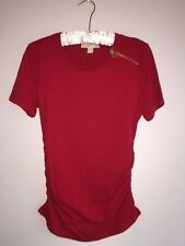 ($60) NWT MICHAEL KORS RED BLAZE TEE SIZE M RUCHED W GOLD ZIPPER HOLIDAY T-SHIRT