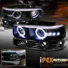 99-02 Chevy Silverado/00-06 Tahoe Halo Projector LED Head Light + Signals Black