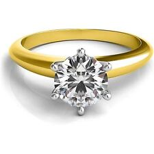 1.00CT Forever One Moissanite 6 Prong Solitaire Wedding Ring 14K Two Tone Gold