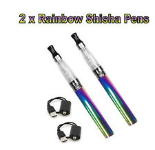 2 x ELECTRONIC RAINBOW E-CIGARETTE RECHARGEABLE VAPOUR E CIG PEN 1100mah Gift UK