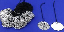 Lot 100 LG Ornate Elegant Black & White Merchandise Price Tags with String  NEW