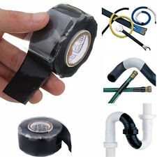 25mm x 300cm Silicone Rubber Waterproof Adhesive Rescue Repair Cloth Tape  Black