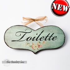 'Toilette' Hanging Wooden Wall Plaque / Sign / Bathroom NEW