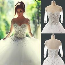Princess Sheer Long Sleeve Pearls Wedding Dresses Ball Gown Lace Up Custom 6-/18