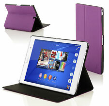 Leather Purple Smart Clam Shell Case Cover for Sony Xperia Z3 8.0 SGP611
