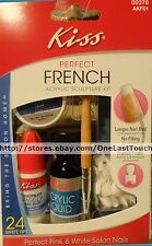 KISS* Acrylic Sculpture Kit PERFECT FRENCH 24 White Tips+File+Brush New! #00376