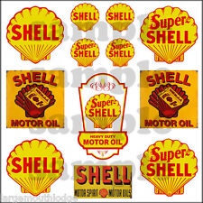 SHELL SUPER 1:87 HO SCALE BUILDING OIL GAS STATION SIGNS DECALS FREE FLAG