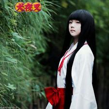 Inuyasha Kikyou Black Cosplay Wig 100cm Long Straight Cos Kikyo Party Hair +Gift