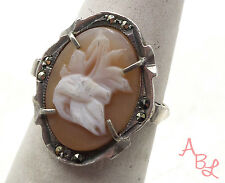 Sterling Silver Vintage Carved Cameo Flower Marcasite Ring Sz 5.75 (2.5g) 549342