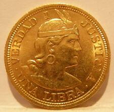 Peru 1918 Gold Libra (Pound) Unc Overdate