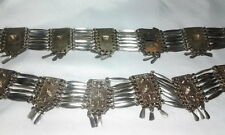 Antique Sterling Silver Mexico Spanish Panel Ethnic Tribal Link Deco Belt 174Gr