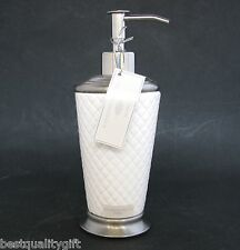 NEW RAYMOND WAITES WHITE CHECKERED CERAMIC SOAP+LOTION DISPENSER