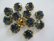 18 Swarovski Rhinestones / Components 10mm Montana Blue Set in Brass