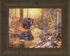 LAST DAYS OF AUTUMN by Jim Hansel 17x21 Black Bear Leaves FRAMED PRINT PICTURE
