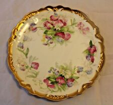 """Coronet Limoges 8.75"""" Floral - Sweet Peas Plate w/Gold Accents - Hand Painted"""