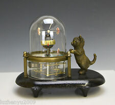 Animated Kitten Cat Catching Fish in Glass Case Novelty Clock