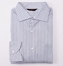 NWT $695 ERMENEGILDO ZEGNA COUTURE Gray-Blue Stripe Cotton Dress Shirt 16 x 36