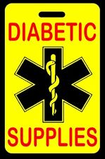 Safety Yellow DIABETIC SUPPLIES Luggage/Gear Bag Tag - FREE Personalization-New