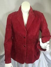 Newport News Red Suede Leather Jacket Button Front Coat Soft Spring Blazer 18