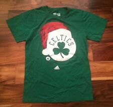 Boston Celtics Basketball Adidas NBA Christmas Santa Hat Shirt Adult Small