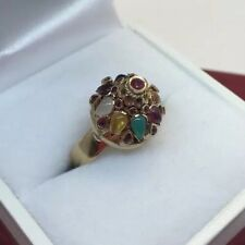 18k Yellow Gold Ruby Sapphire Multi Gemstone Cabochon Antique Harem Dome Ring 8