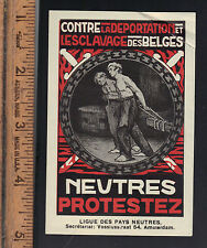 World War I WWI League of Neutral Nations Protest Slavery Stamp Belgium Germany