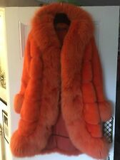 CHRISTIAN DIOR Orange Mink & Fox COAT lined In orange Silk Size 34""