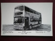 POSTCARD LONDON COUNTY BUS - TONY LE VOI MOTORS APRIL 1984