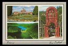 ROTORUA POSTCARD - NEW ZEALAND TUDOR TOWERS & HAND CARVED MAORI GATEWAY at WHAKA